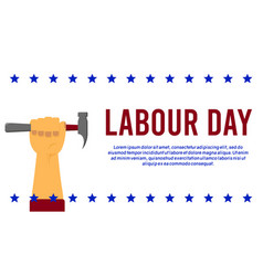 American or usa labour days banner with hand vector