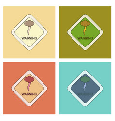 Assembly flat icons natural hurricane tornado vector