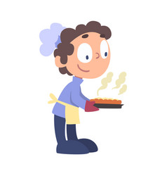 Boy chef baking pie cute child professional vector