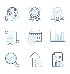 Calendar discounts report diagram and report vector