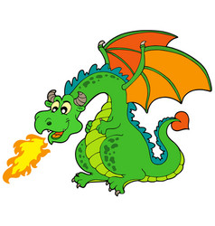 cartoon fire dragon vector image