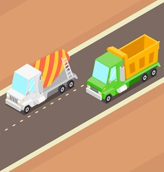Cartoon Isometric Trucks vector image
