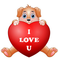 cartoon puppy holding red heart vector image
