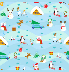 christmas elements seamless pattern background vector image