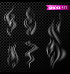 cigarette smoke waves set isolated on transparent vector image