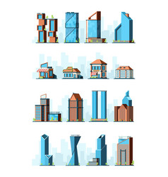 city buildings skyscraper street houses groceries vector image