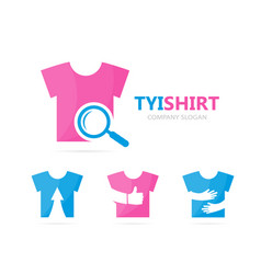 Cloth and loupe logo combination shirt vector