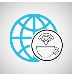 connection concetp globe coffee internet wifi vector image