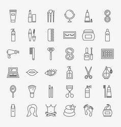 Cosmetics line icons set vector