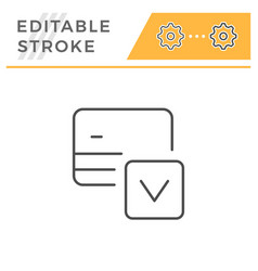 credit card approval editable stroke line icon vector image