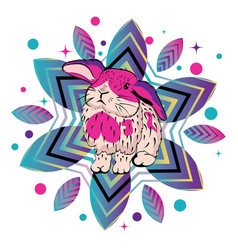 Cute bunny with patterns vector
