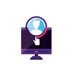 Desktop with male profile account vector