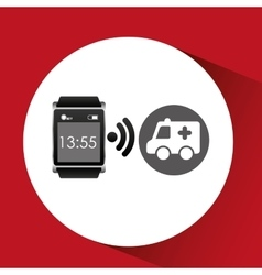 Digital smartwatch healthy ambulance vector