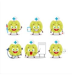 Doctor profession emoticon with slice amla cartoon vector