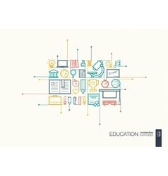 Education integrated thin line symbols vector