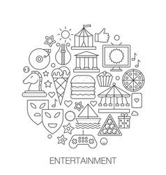 entertainment in circle - concept line vector image