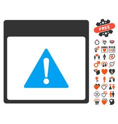 Error calendar page icon with dating bonus vector