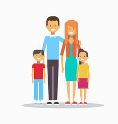 Family happy smiling parents with two kids vector