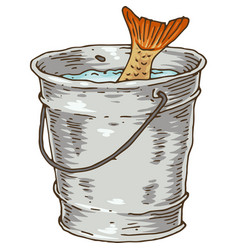 Fishing bucket with catch vector