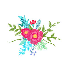 Flower bouquet drawing by color pencils vector