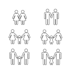 Gay family thin line icons white vector