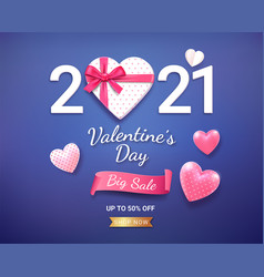 gift box with red ribbon and 3d heart valentines vector image
