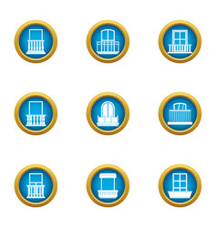 glass factory icons set flat style vector image
