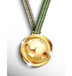 Gold football medal vector
