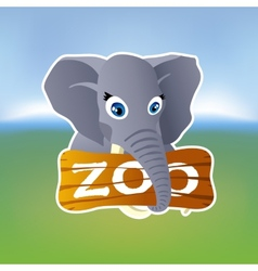 Grey elephant holding zoo plate vector