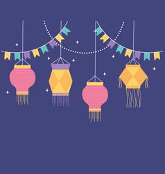 happy diwali festival decorative bunting lanterns vector image