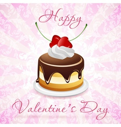 Happy Valentines Day Card with Cake vector image