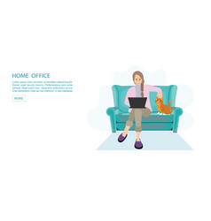 Happy woman working from home at sofa with laptop vector