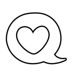 heart into a speech bubble black and white vector image