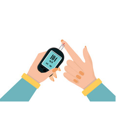Human hand check diabetes and high blood glucose vector