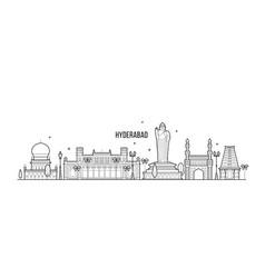 hyderabad skyline telangana india city line vector image