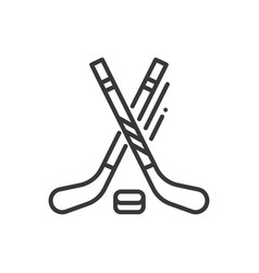 ice hockey - line design single isolated icon vector image
