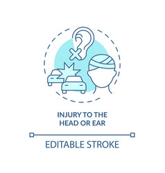 Injury to head and ear concept icon vector
