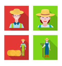 Isolated object farm and arable icon set vector