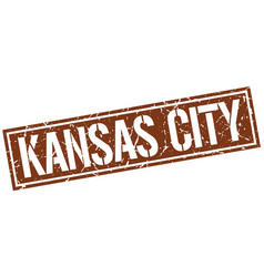 Kansas city brown square stamp vector