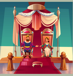 King and queen sitting on thrones in palace royal vector