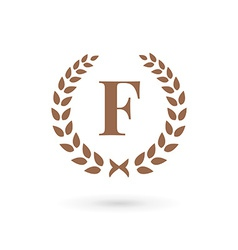 Letter F laurel wreath logo icon vector