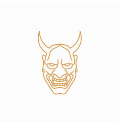 line art japanese demon oni mask logo design vector image