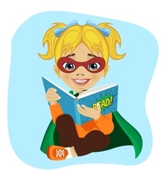 little girl in superhero costume reading book vector image