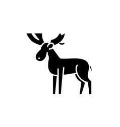 moose black icon sign on isolated vector image