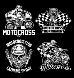 Motocross badge design set vector