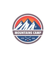 mountains camp - concept badge climbing logo vector image