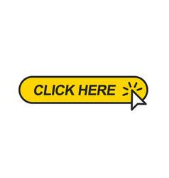 Mouse cursor clicking on yellow button vector