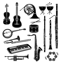 Musical instrument icons set simple style vector