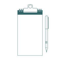 note pad and pen icons outlined on white vector image