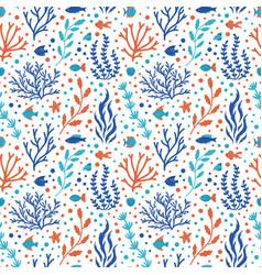 ocean coral pattern underwater doodle seamless vector image